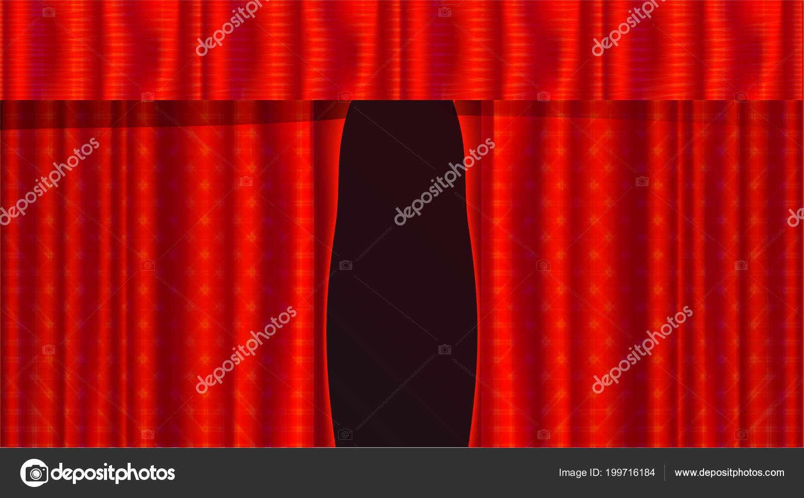 red realistic theater curtains illustration opening velvet stage