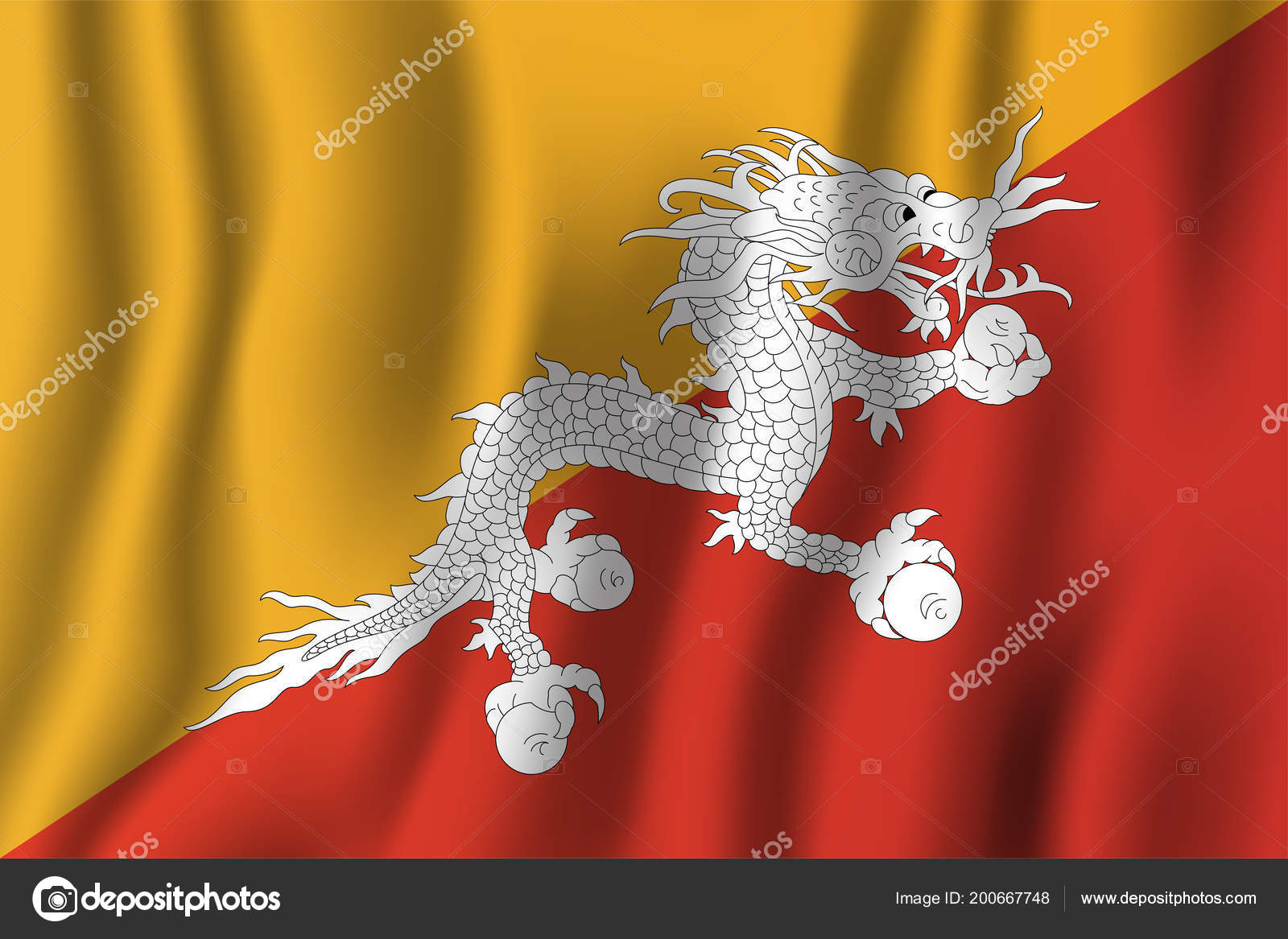 bhutan realistic waving flag vector illustration national country background symbol vector de stock