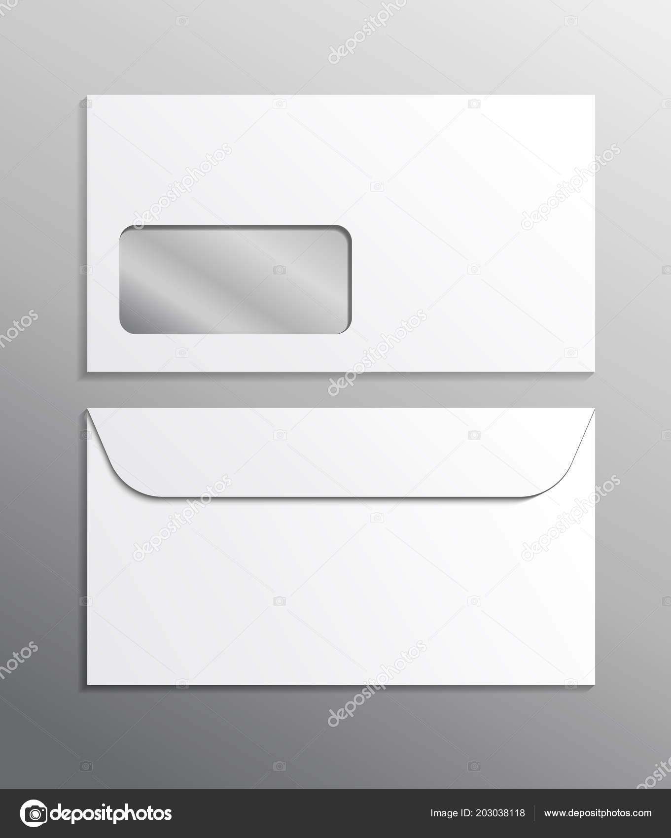 Envelope Vector Realistic Mockup White Blank Mail Office Template ...