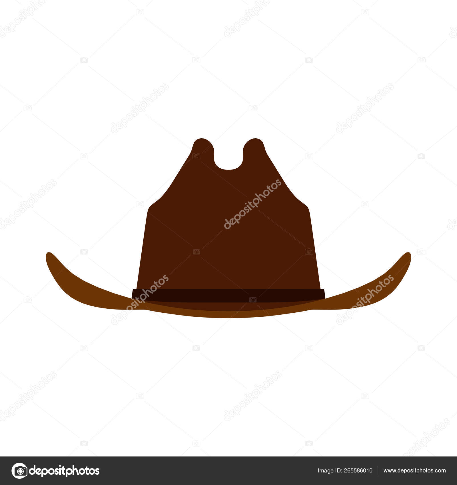 939dc0d71 Cowboy hat brown front view icon. Person male traditional farmer ...