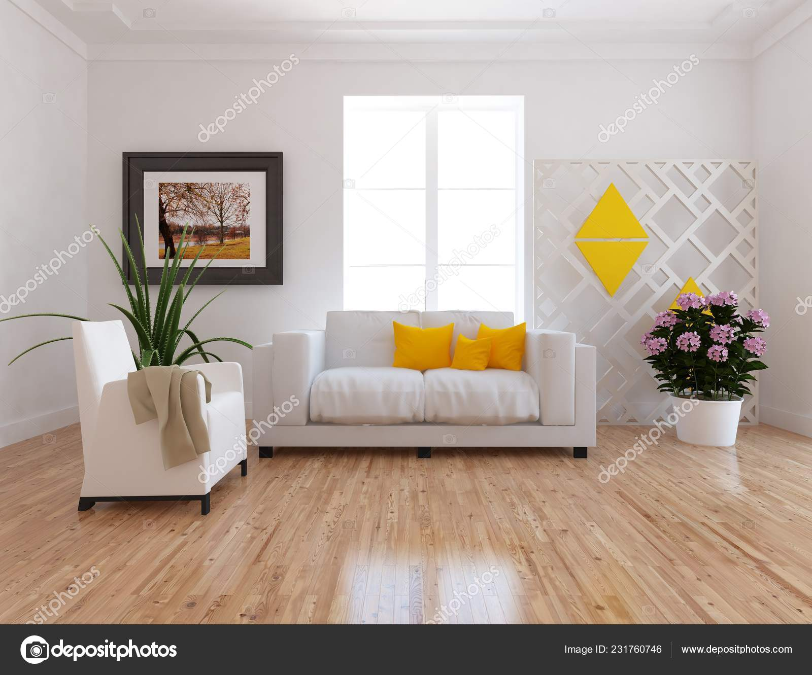 Idea of a white scandinavian living room interior with sofa, on the wooden  floor and decor on the large wall and white landscape in window. Home ...