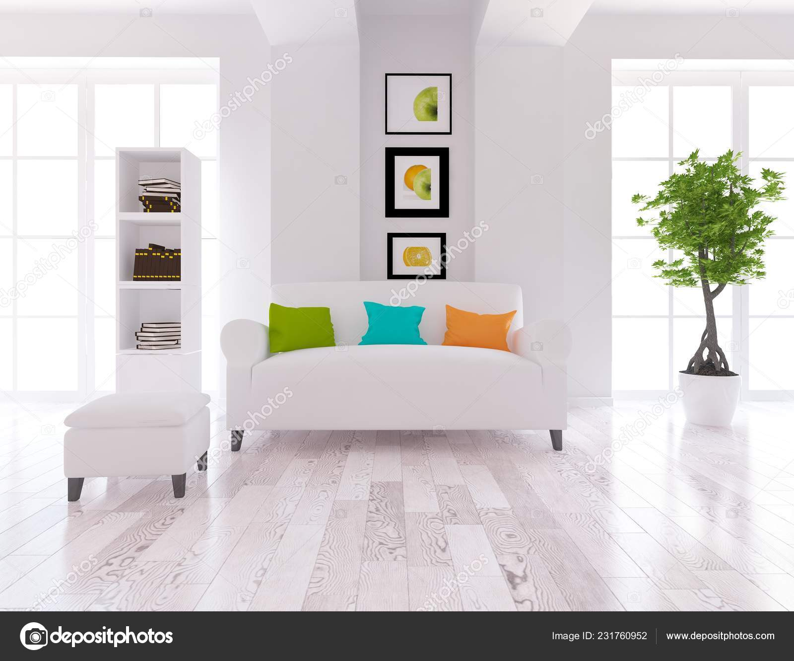 White Scandinavian Living Room Interior
