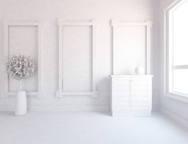 white room interior with plant. Scandinavian interior design. 3d illustration