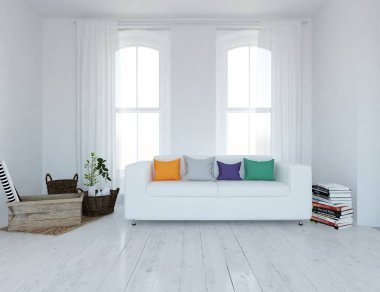 Idea of a white scandinavian living room interior with sofa ,plants and wooden floor  . Home nordic interior. 3D illustration