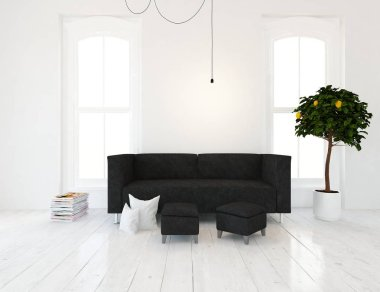 Idea of a white scandinavian living room interior with sofa and   plant  . Home nordic interior. 3D illustration