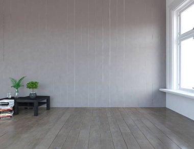 Idea of  empty scandinavian room interior with plants on the wooden floor . Home nordic interior. 3D illustration