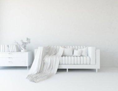 white room interior with furniture. Scandinavian interior design. 3d illustration