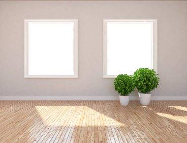Idea of  empty scandinavian room interior with vases on wooden floor . Home nordic interior. 3D illustration