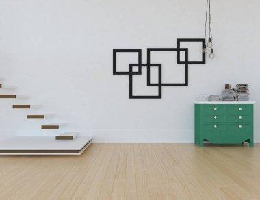 Idea of  empty scandinavian room interior with dresser on the wooden floor . Home nordic interior. 3D illustration