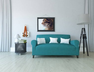 Idea of a scandinavian living room interior with sofa ,  on the wooden floor and decor on the large wall . Home nordic interior. 3D illustration - Illustration