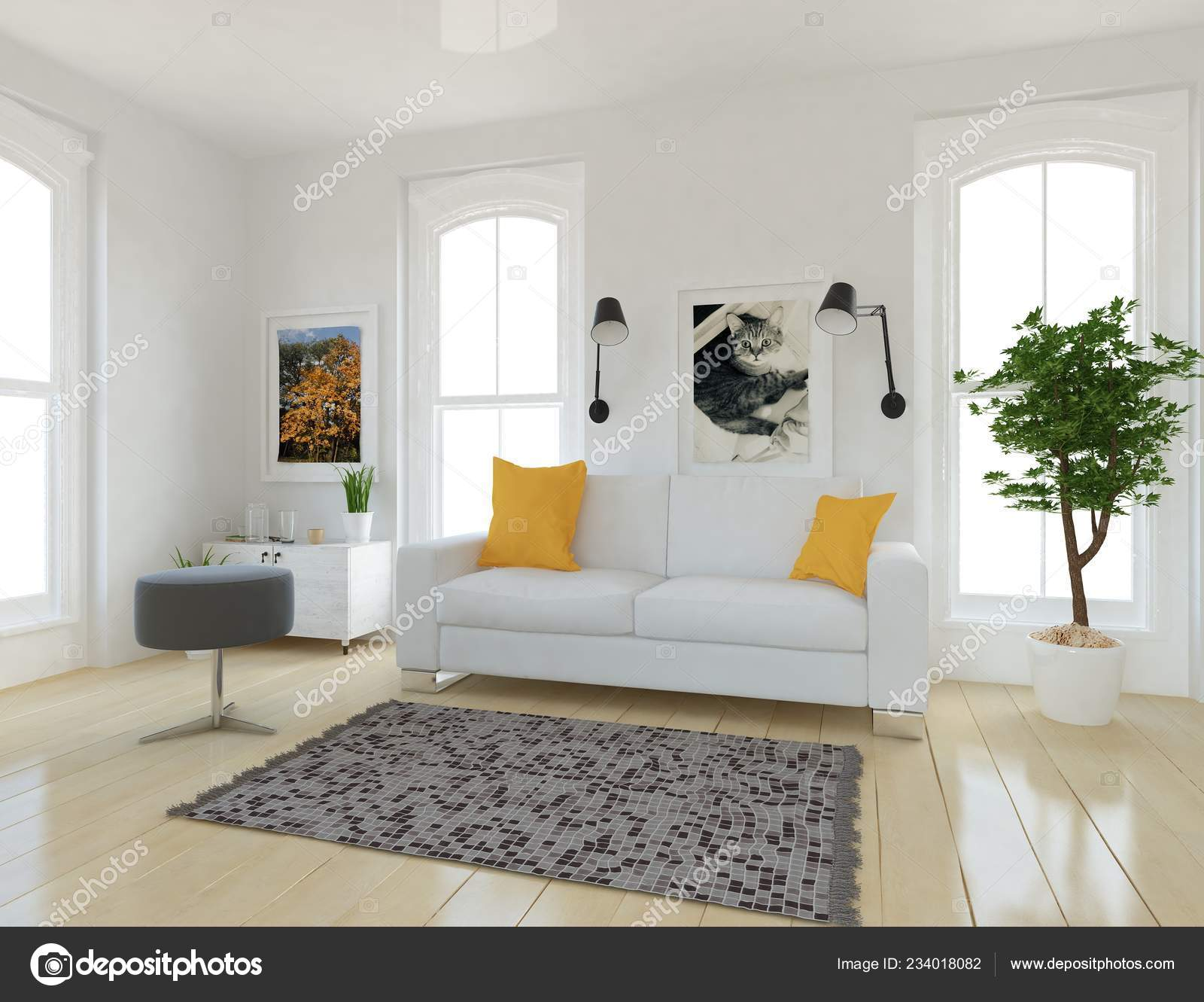 Idea Scandinavian Living Room Interior Sofa Plants Wooden Floor Home Stock Photo Image By C Pavelshinkarev87 Gmail Com 234018082