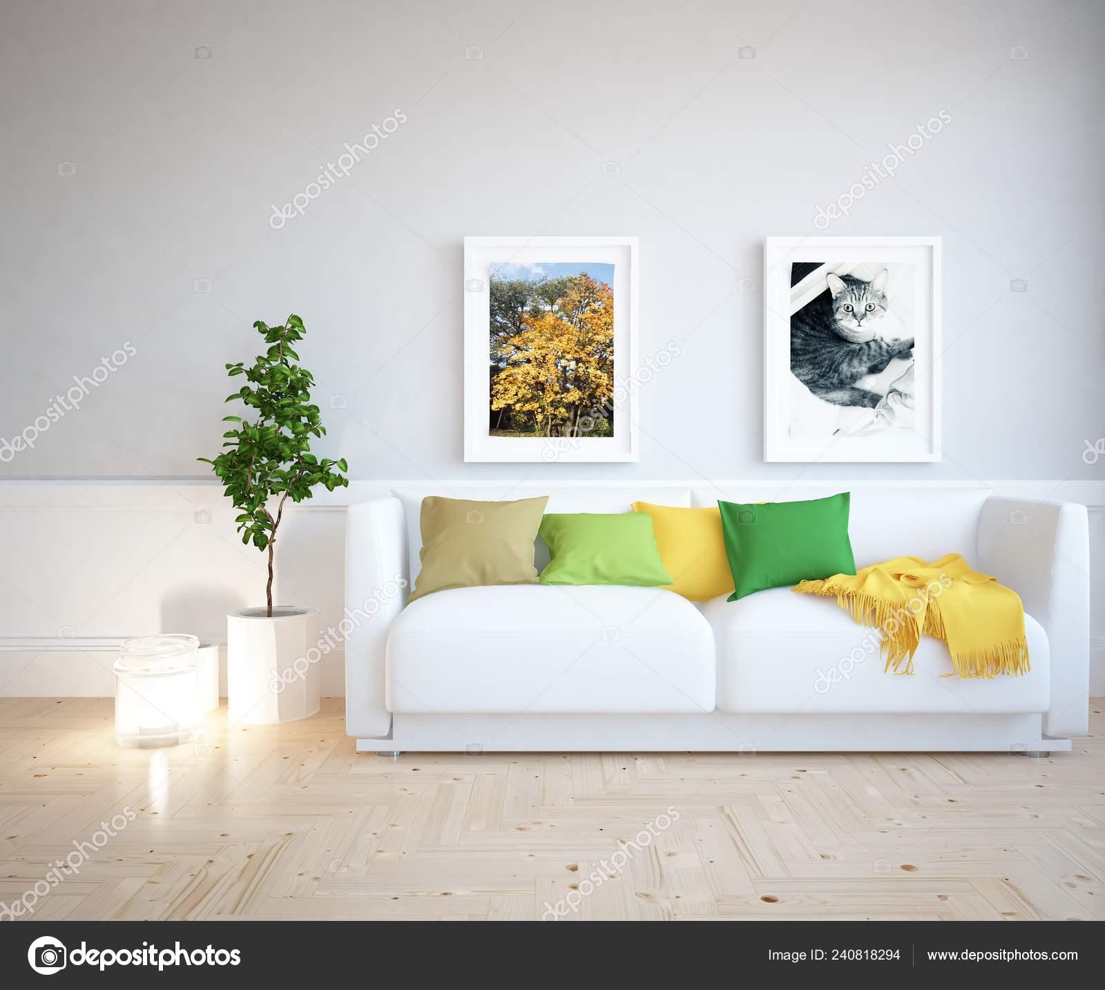 Idee Des Skandinavischen Wohnzimmer Interieur Mit Sofa Pflanze Und ...