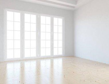 white room interior with windows . Scandinavian interior design. 3d illustration