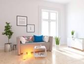 Idea di un interno scandinavo salotto con divano, piante e pavimento in legno. Interno di casa nordica. illustrazione 3D