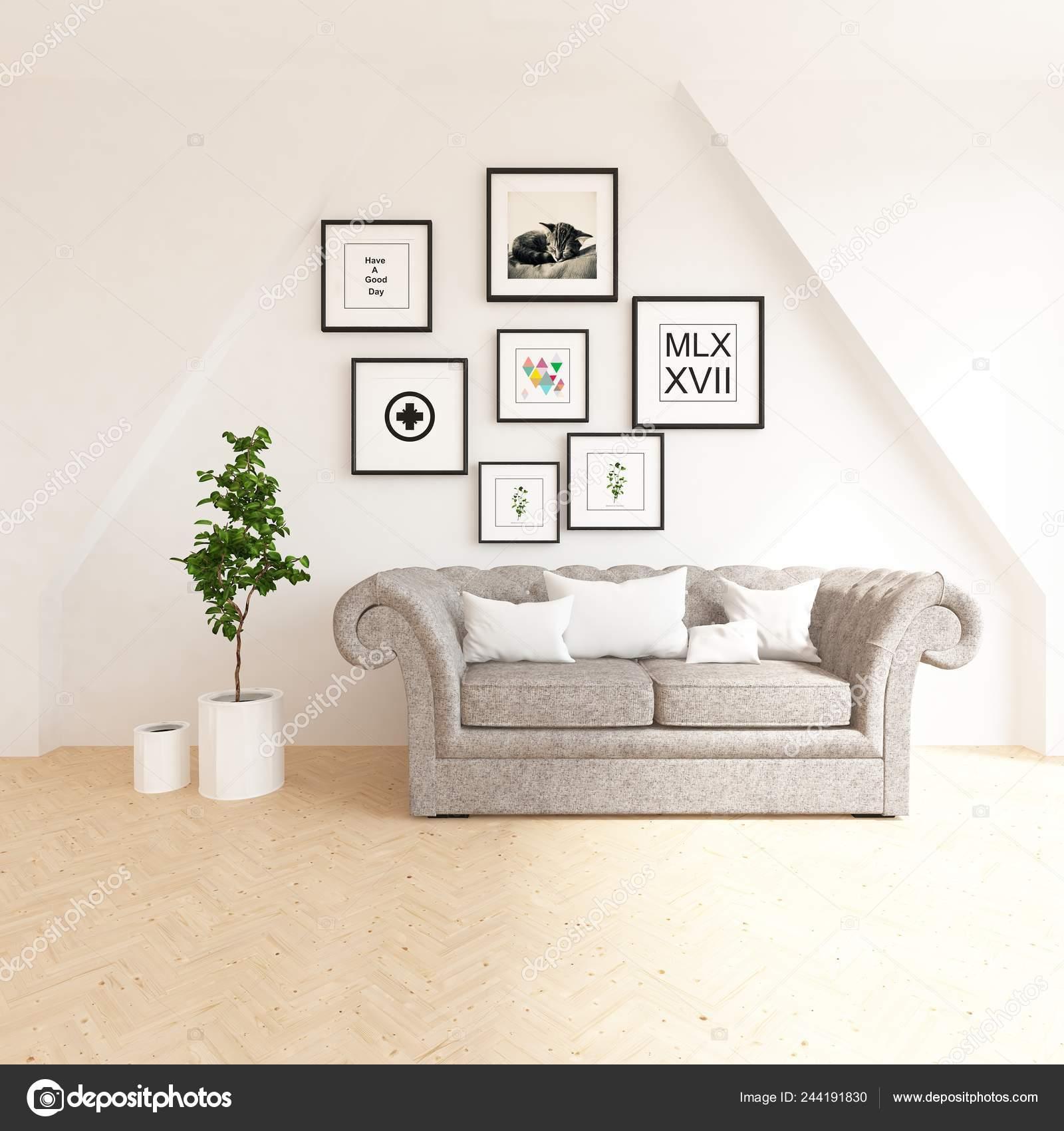 Scandinavian Living Room Interior Sofa