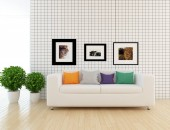 Idea of scandinavian living room interior with sofa ,plant and wooden floor  . Home nordic interior. 3D illustration