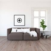 Představu o interiéru skandinávské obývacího pokoje s pohovkou, rostlin a dřevěné podlahy. Domácí severské interiér. 3D obrázek