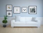 Představu o interiéru skandinávské obývacího pokoje s pohovkou, rostliny a dřevěné podlahy. Domácí severské interiér. 3D obrázek