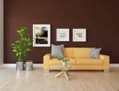Idee skandinavischer Wohnzimmereinrichtung mit Sofa, Pflanzen und Holzboden. Heimat nordischen Inneren. 3D-Illustration