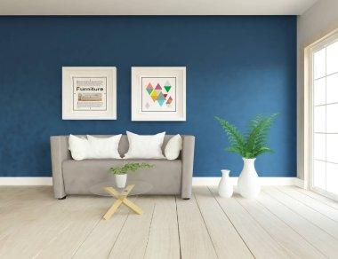 İskandinav oturma odası iç kanepe, bitkiler ve ahşap zemin ile fikir. Ev nordic iç. 3D çizim