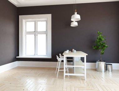 Idea of a white scandinavian kitchen room interior with dinning furniture and wooden floor and white landscape in window. Home nordic interior. 3D illustration