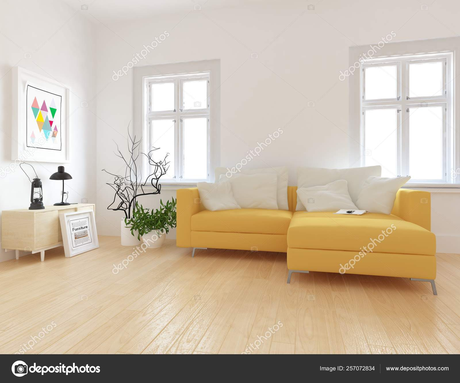 génial  Mot-Clé Idea of scandinavian living room interior with sofa, on the wooden floor  and decor. Home nordic interior. 32D illustration 2570728324