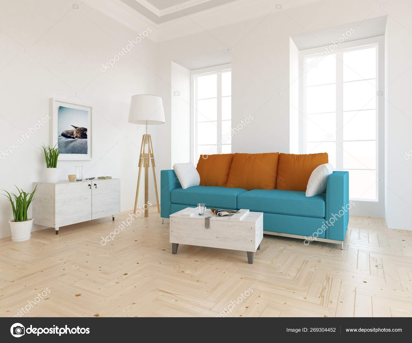 Idea of scandinavian living room interior with sofa, on the wooden floor  and decor. Home nordic interior. 32D illustration 2693204452