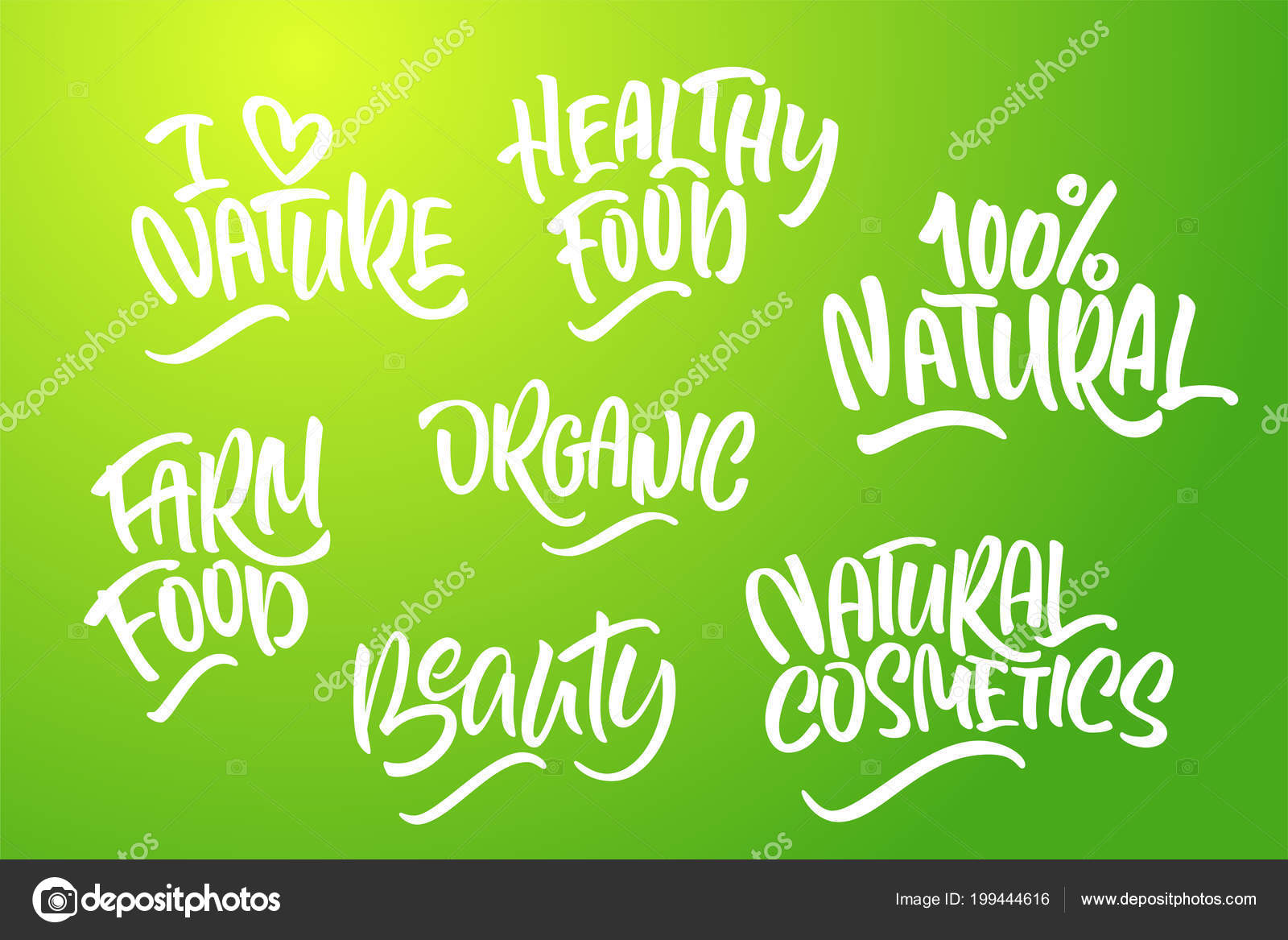 Lettering Set Natural Products Green Colors Handwritten Logo