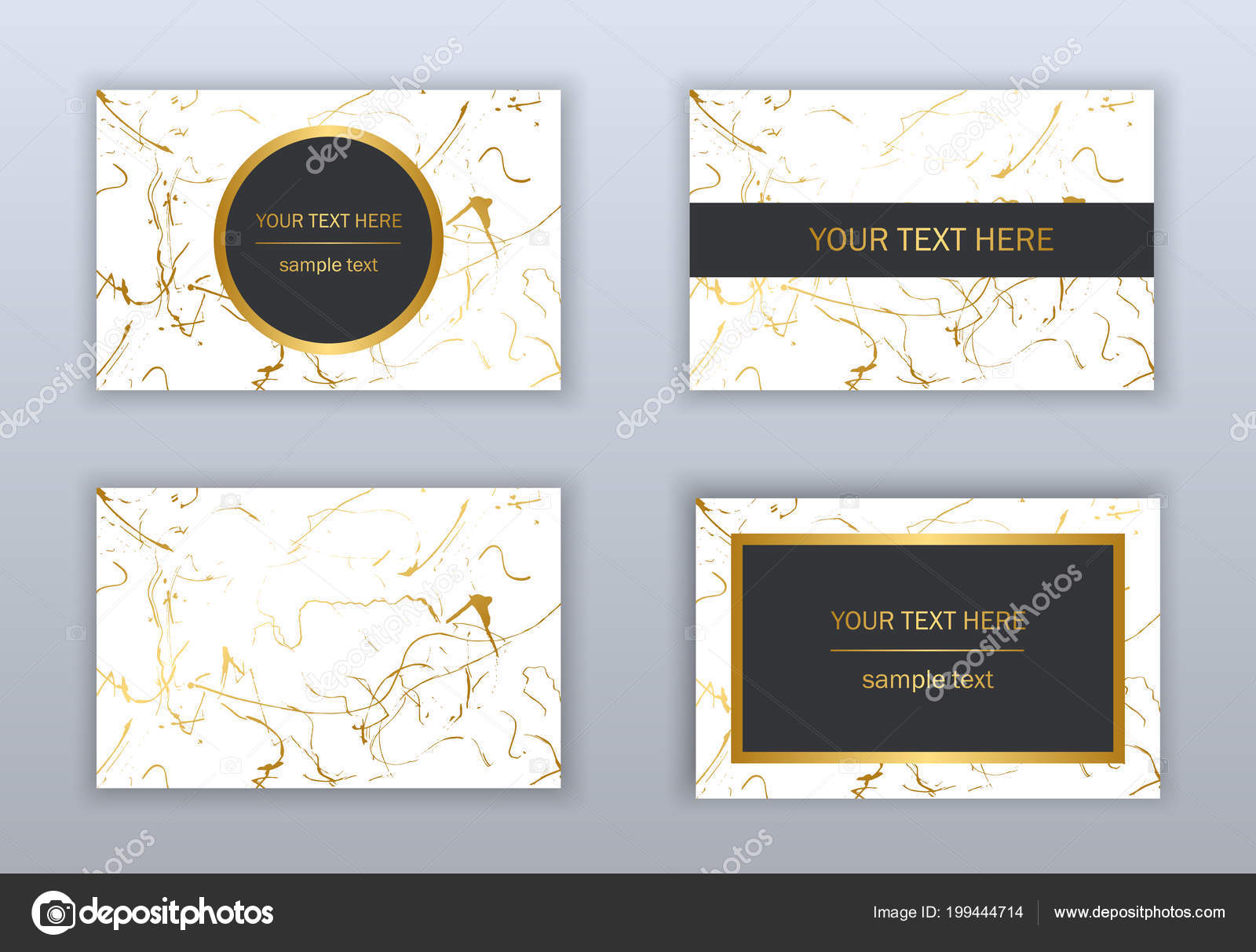 Set White Black Gold Business Cards Templates Modern Abstract Design