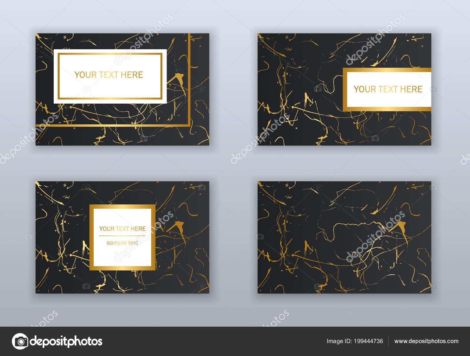 Satz Von Weiß Schwarz Und Gold Visitenkarten Vorlagen