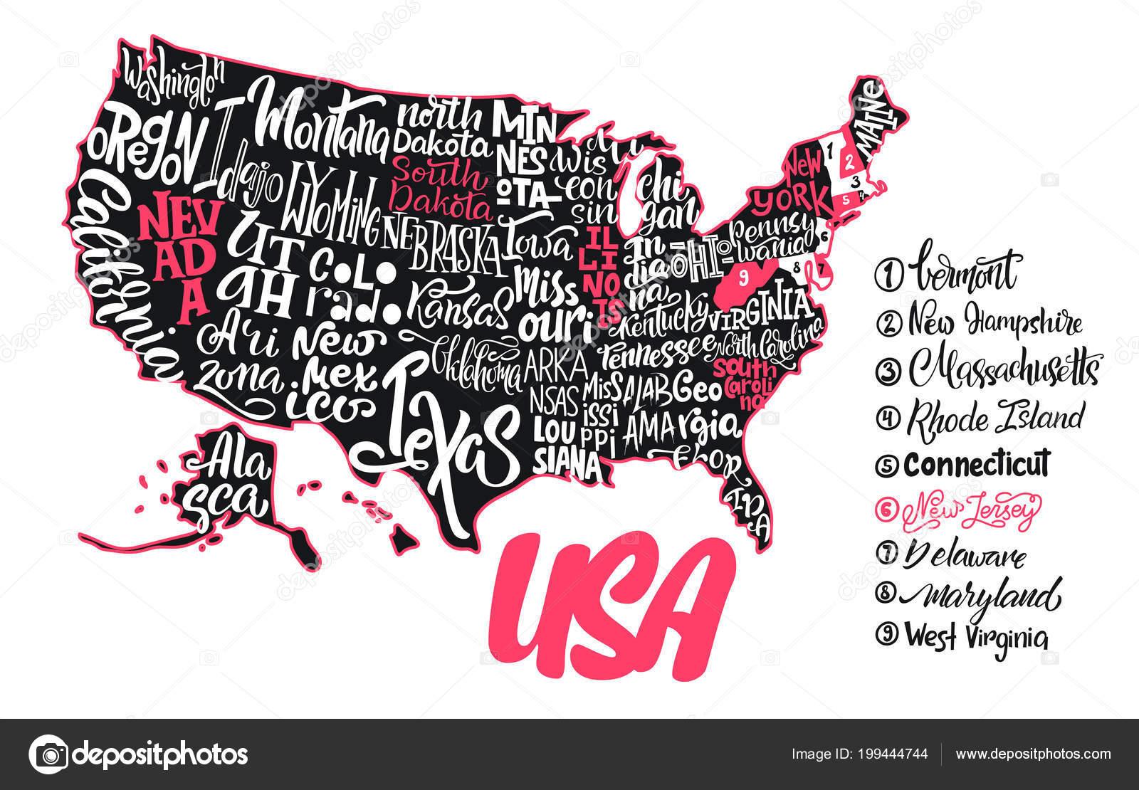 Silhouette Der Karte Der Usa Mit Handschriftlichen Namen Von ...