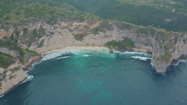 Aerial view of sandy beach with beautiful waves, turquoise ocean water, palms