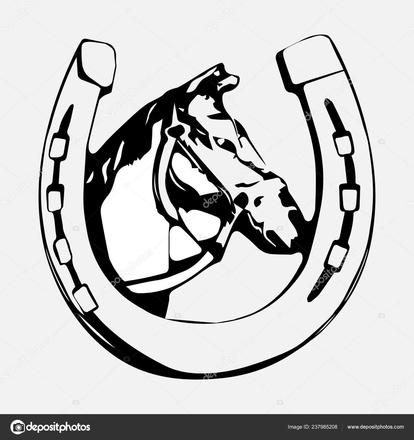 Horse Head Horseshoe Icon Horse Silhouette Logo Design Vector Image
