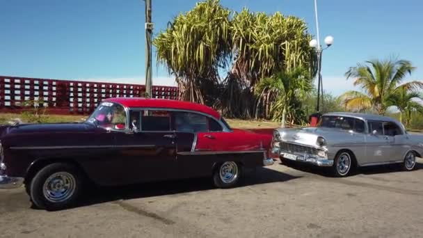 HAVANA, CUBA - APRIL 2019: Vintage classic American cars parked.