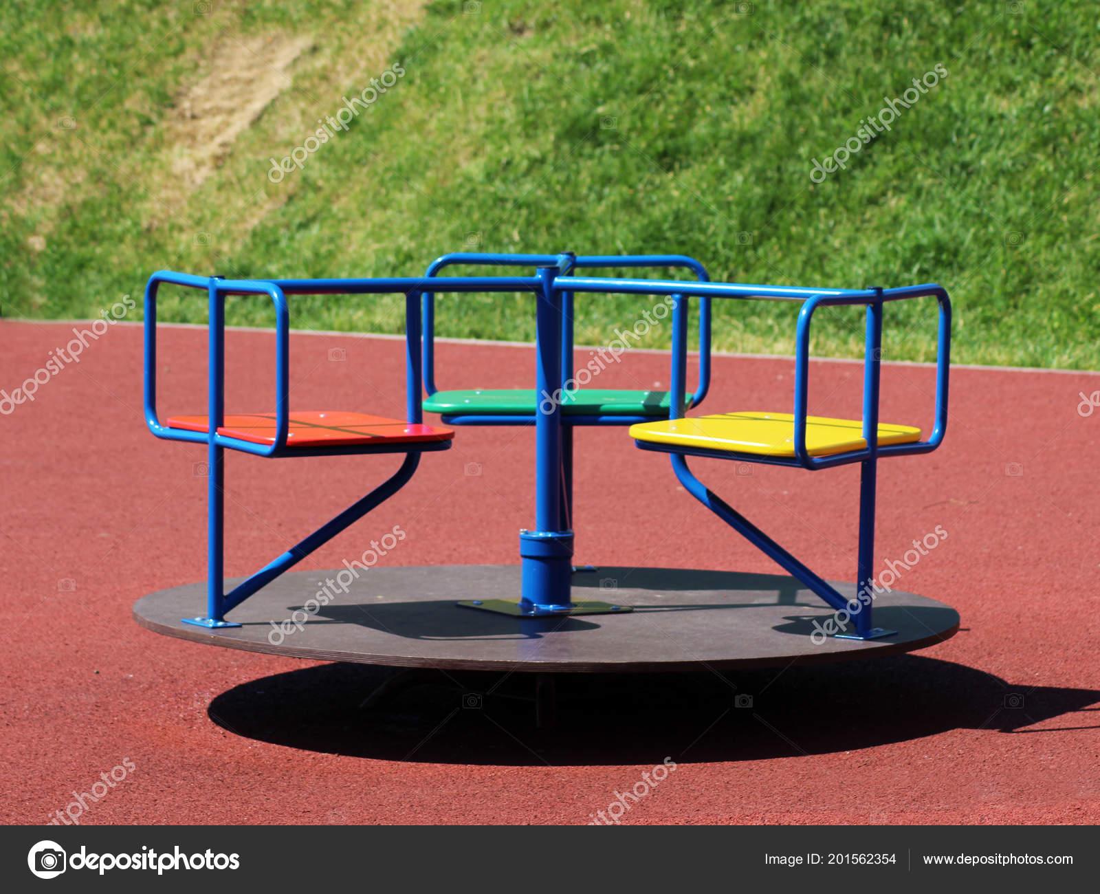 Farbe Kinder Karussell Dreht Rund Natur Objekt Stockfoto
