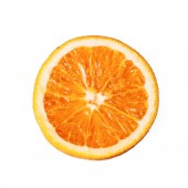 Fotografie Orange on a white background. The round fruit. Oranje product. Ochenky delicious and healthy. Vitamin C. Vegetarianism. Vegan. Orange pulp. Background for the menu of cafes and restaurants. Background for advertising.
