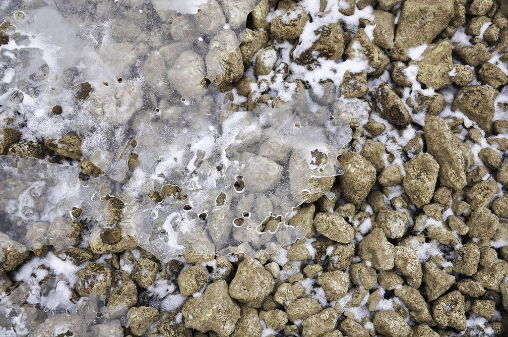 Texture of stone, snow and ice