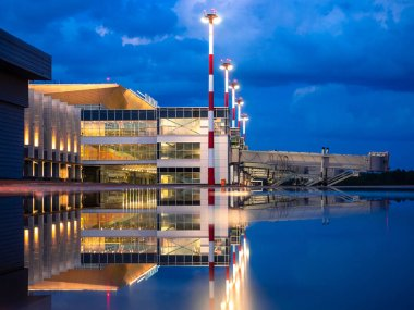 11.06.2019 Russia. Krasnoyarsk. Hvorostovsky airport. Night view of the new terminal.
