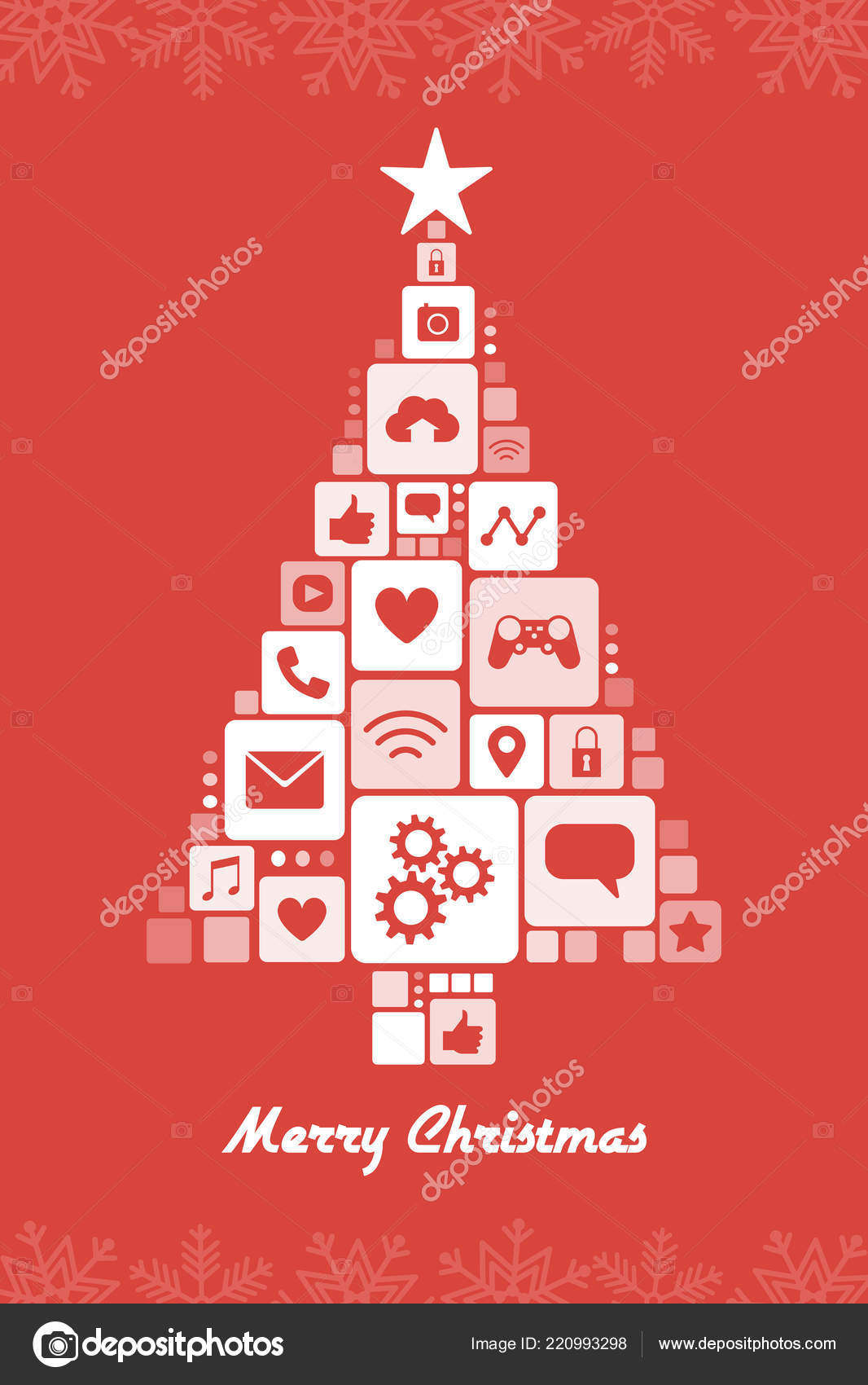 Christmas Tree Composed App Icons Internet Technology Celebration Concept — Stock Vector