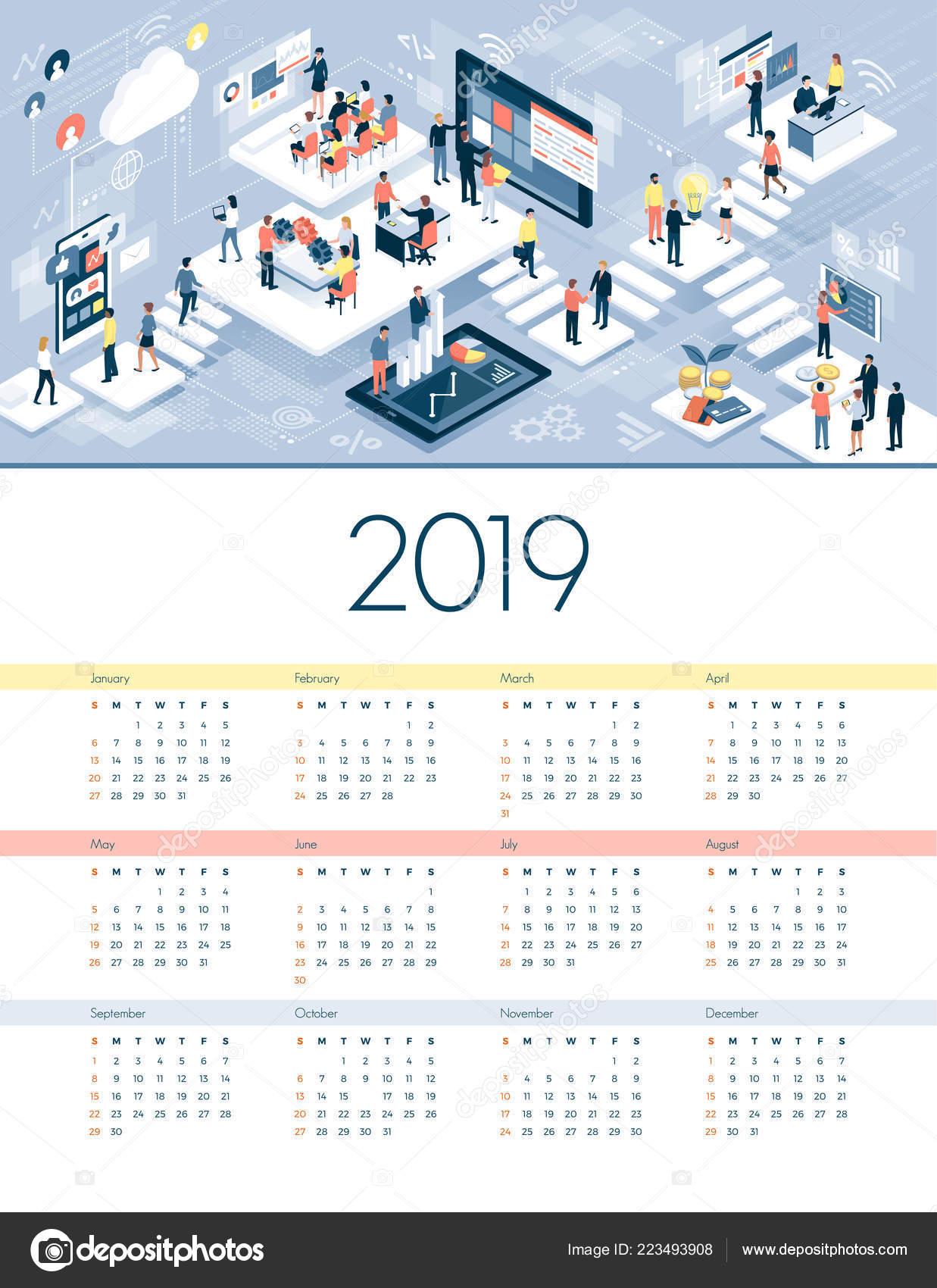 Calendrier Virtuel.Calendrier Des Affaires Technologie 2019 Gens Affaires