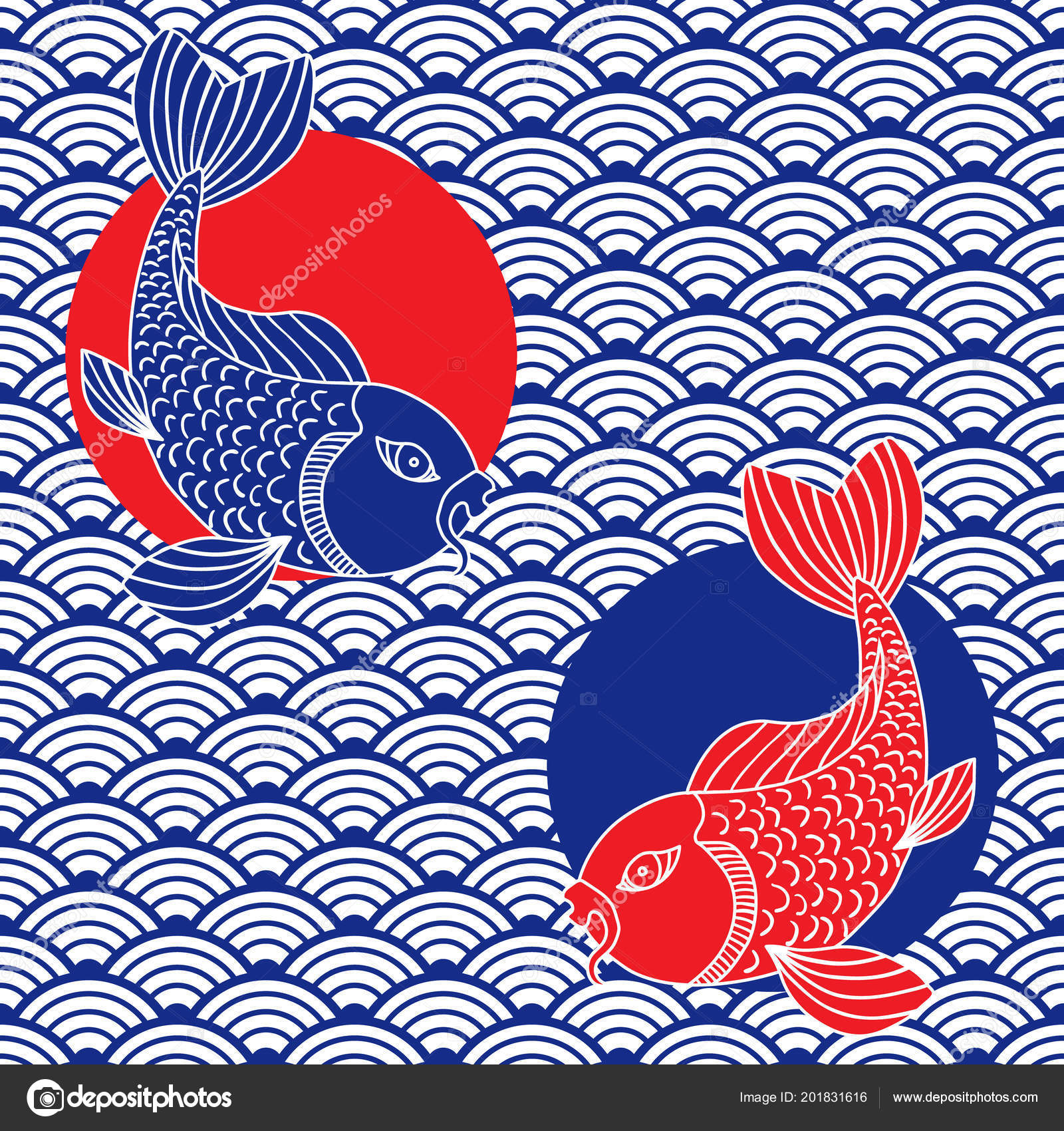 Waves Catfish Symbols Japanese Ornament Red Blue White Colors Vector