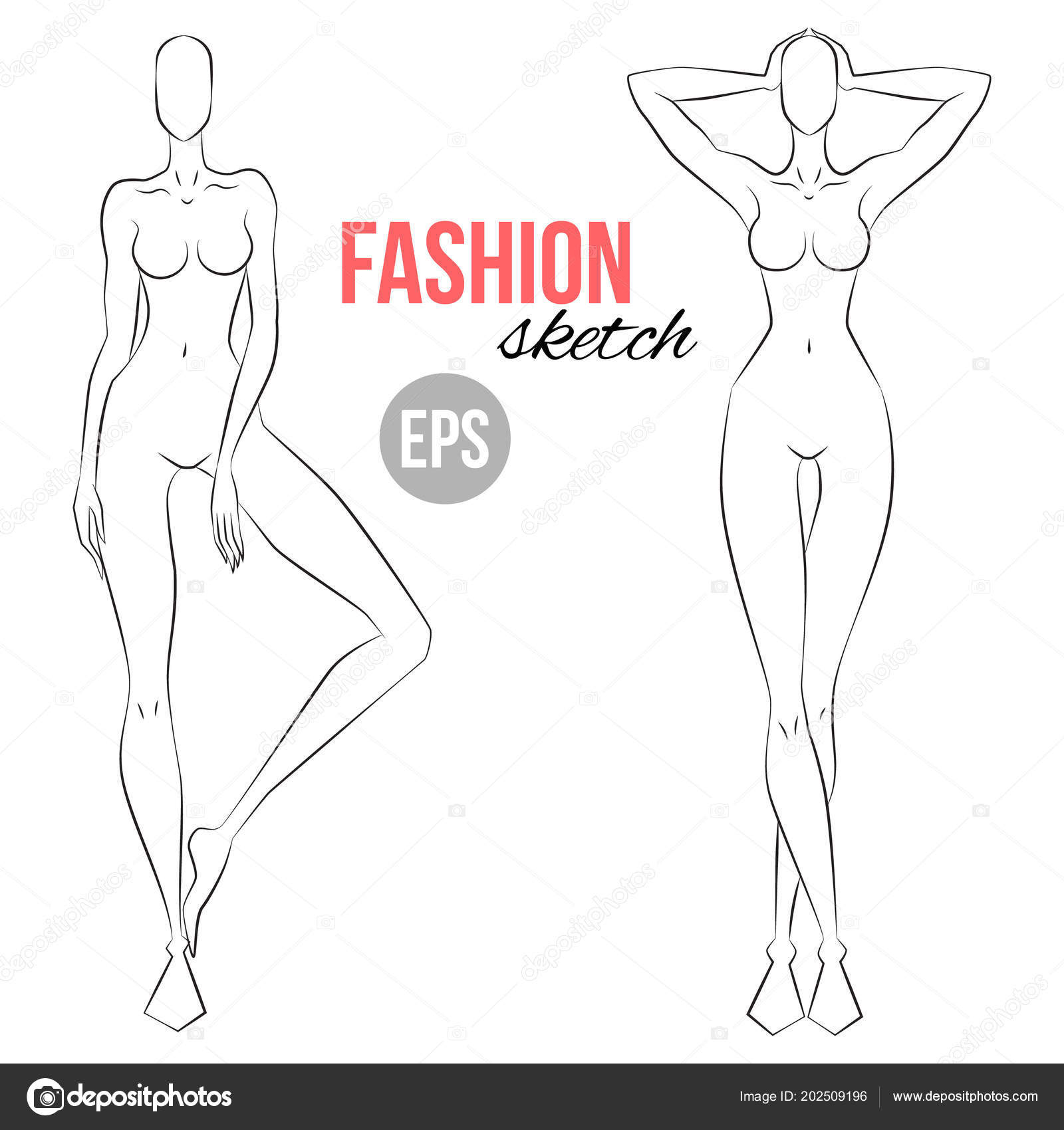 Body Outlines For Designing Clothes | Woman Figure Sketch Different Poses Template Drawing Stylist