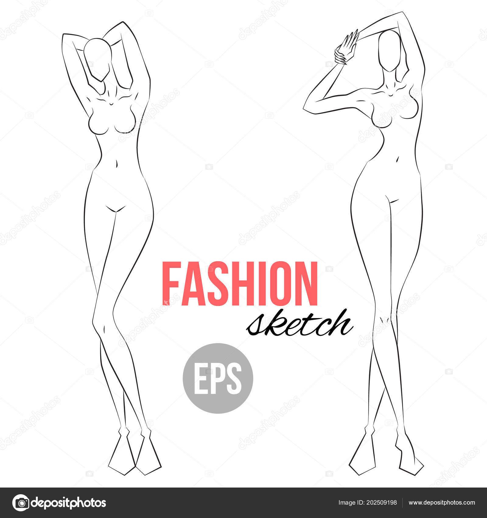 Bosquejo Figura Mujer Diferentes Poses Plantilla Dibujo Para ...