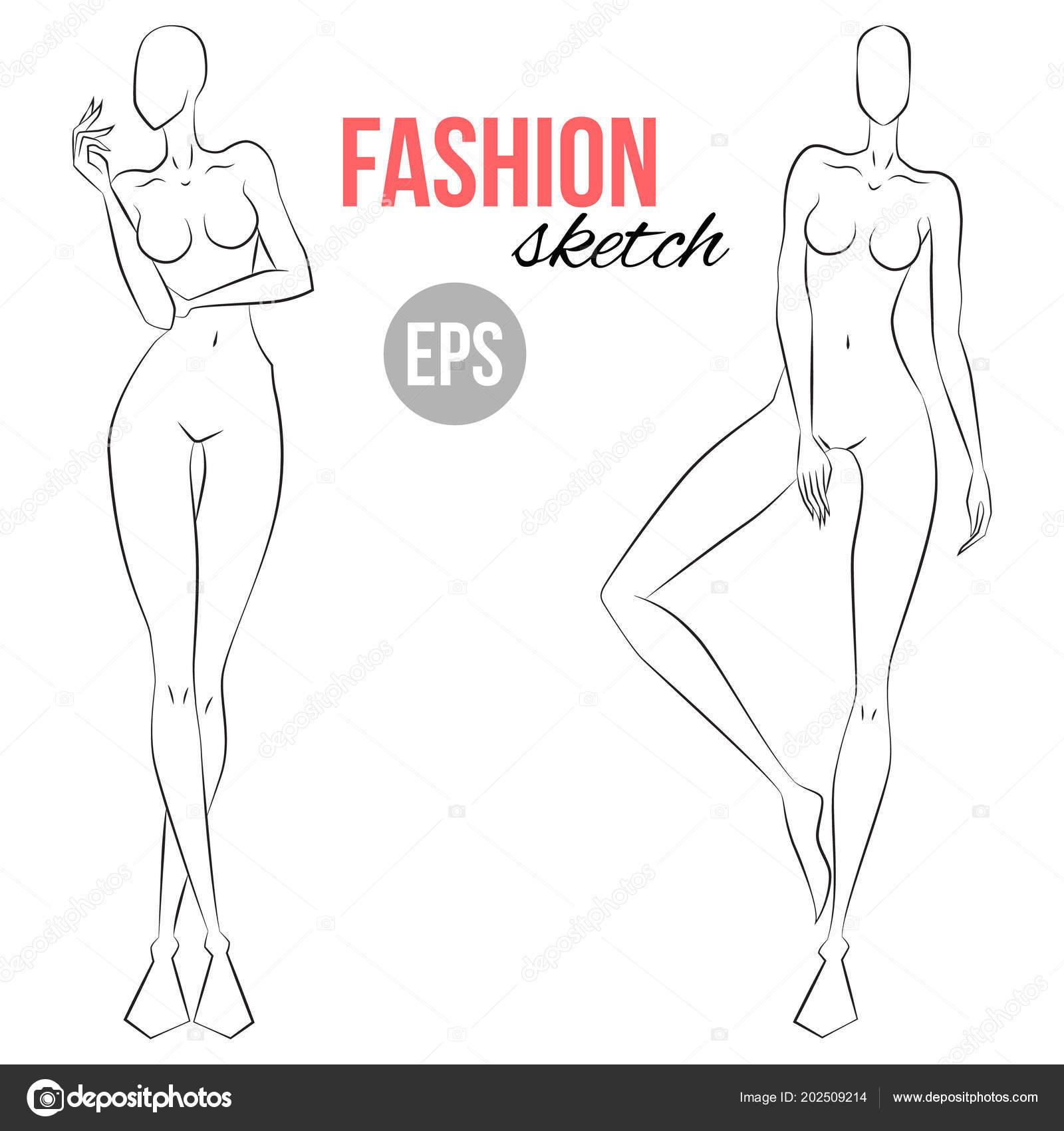 Illustrazione Schizzi Stilisti Schizzo Figura Donna Pose