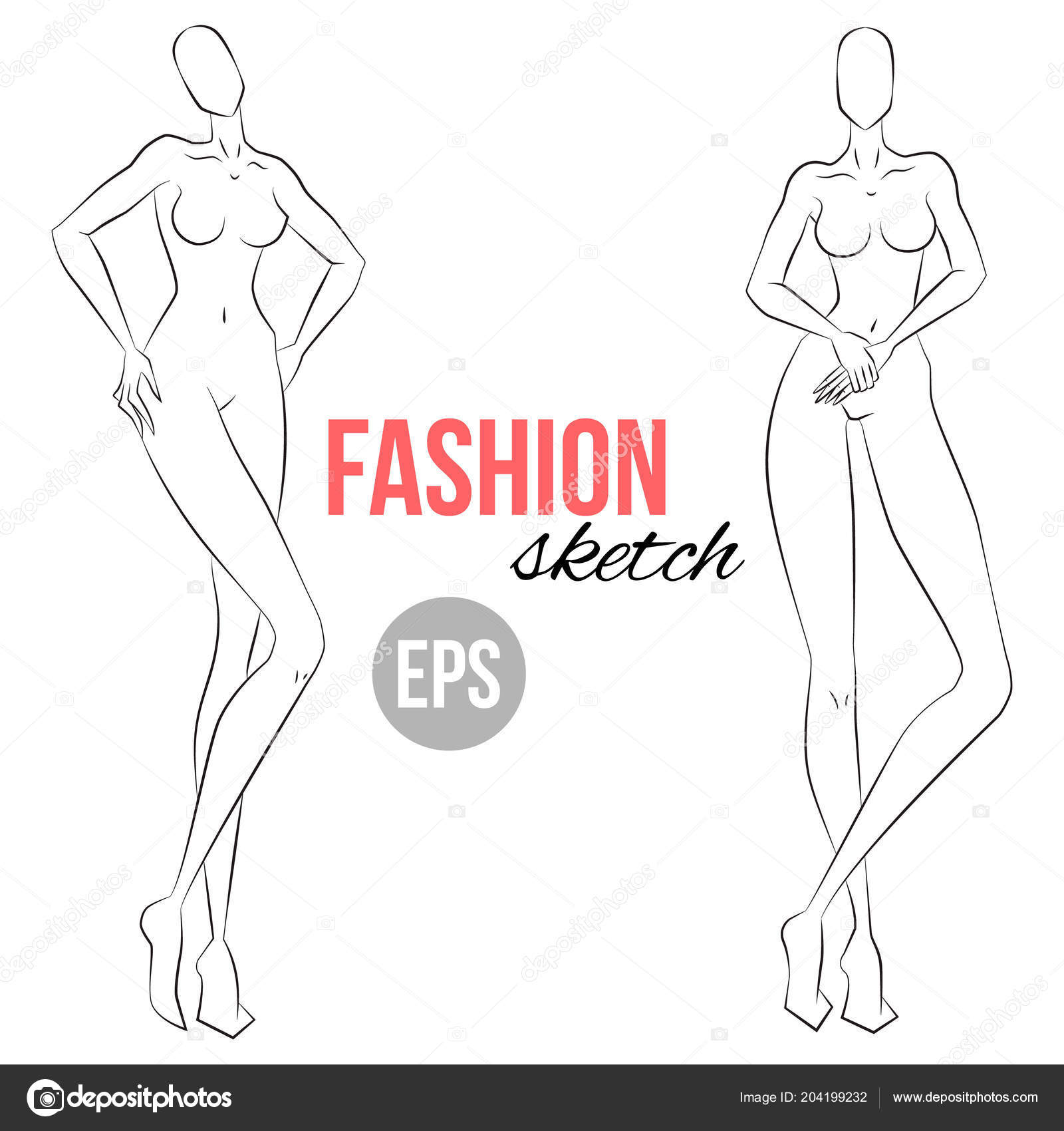 Woman Figure Sketch Different Poses Template Drawing Stylist