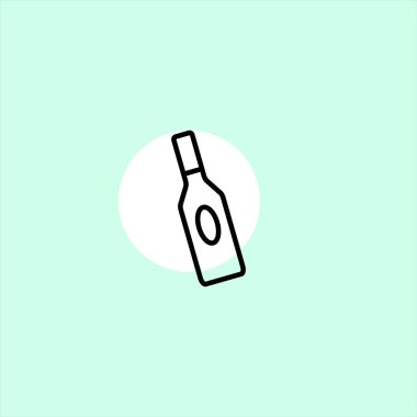 vodka bottle flat vector icon on colorful background