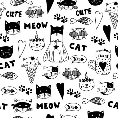 Seamless pattern with  doodle cats. Black and white hand drawn animals.  Can be used for child books, website background, wallpaper, packaging.