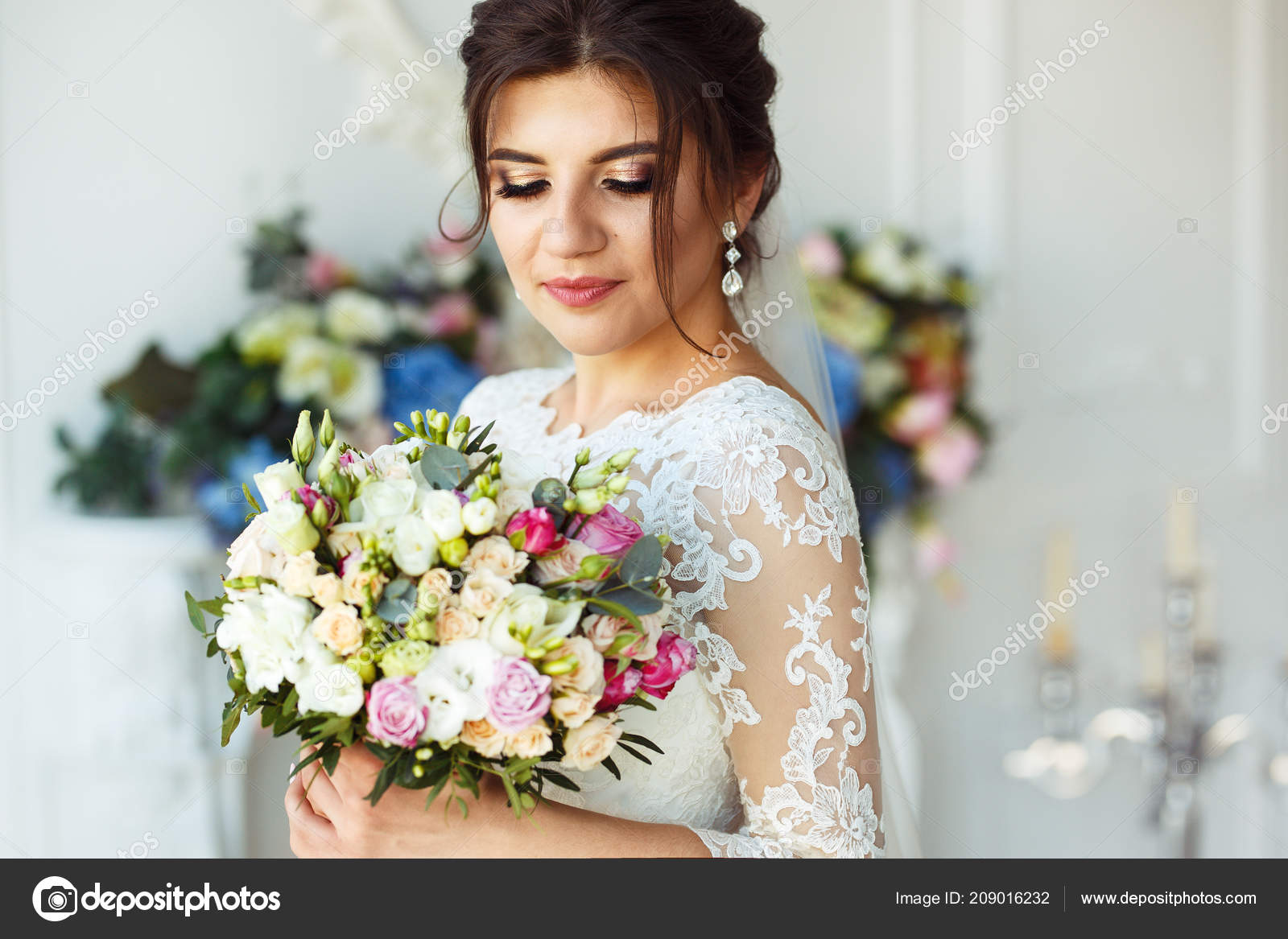 Beautiful Bride Fashion Wedding Hairstyle White Background Wedding