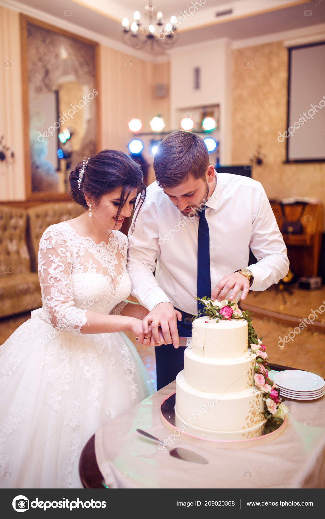 Bride Groom Cutting Wedding Cake Beautiful Cake Nicel Light Wedding Stock Photo C Xerox123 Mail Ua 209020368