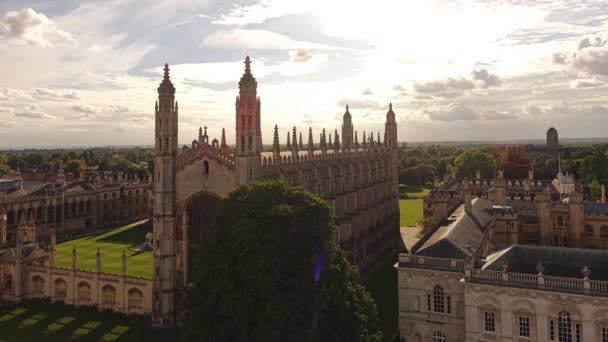 View of Cambridge University With Heights. in the Courtyard of the University Well Mowed Green Lawns.